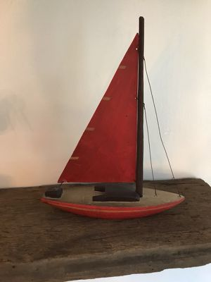 Hand carved red wooden sailboat for Sale in Allison Park, PA