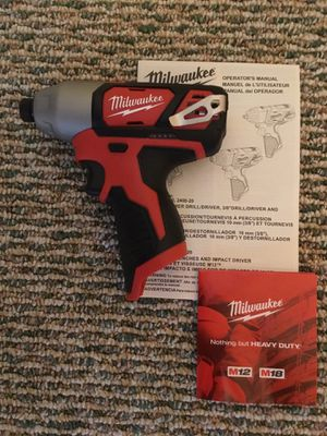 """Milwaukee. M12 Lithium Ion 1/4""""HEX Cordless Impact Driver (Tool Only). 2462-20. for Sale in Brooklyn, NY"""