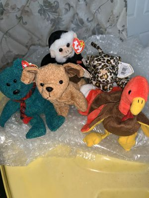 Lot of 5 Rare Ty Beanie Babies Turkey, Monkey, ect for Sale in Davenport, FL