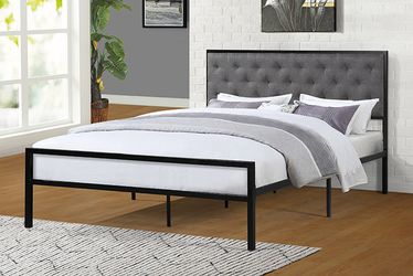 NEW, FULL Size Metal Platform Bed (Fully Slated NO BOX SPRING REQUIRED) with Linen Fabric Headboard , SKU# 7577F for Sale in Westminster,  CA