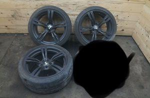 Set 20 Inch 5 Double Spoke Black Wheel Rim Tire 36112284599 BMW M5 F10 2012-16 for Sale in Whittier, CA