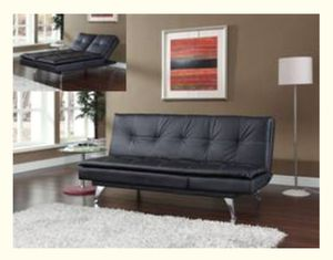 New sofa bed black bonded leather for Sale in Puyallup, WA