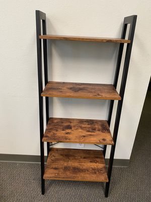 Industrial Ladder Shelf, 4-Tier Bookshelf, Storage Rack Shelves, Bathroom, Living Room, Wood Look Accent Furniture, Metal Frame, Rustic Brown for Sale in Chino, CA