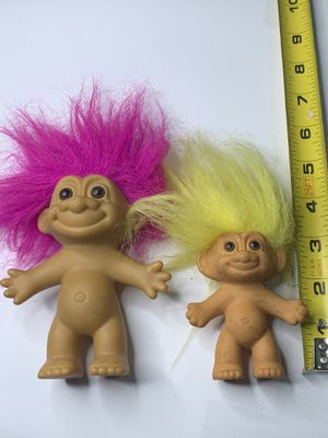 Troll Dolls Russ 1990s dolls two total one pink troll and yellow troll for Sale in King of Prussia, PA