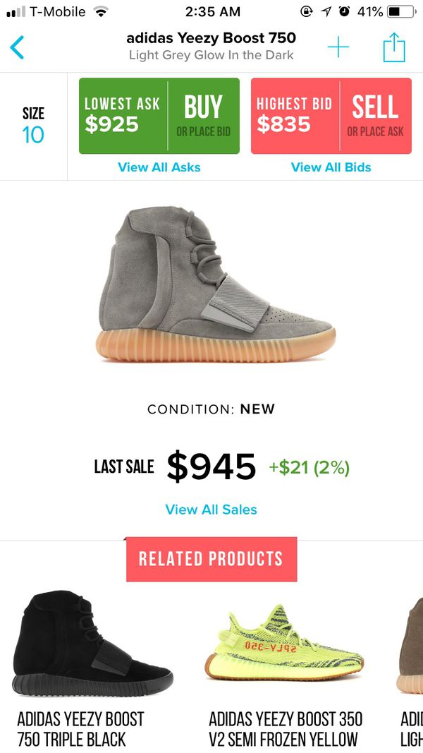 c9be499a540 2016 Adidas Yeezy Boost 750 Grey Gums (GLOW IN THE DARK) for ...