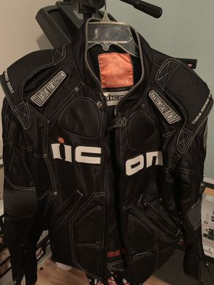 ICON Timax Black Motorcycle Jacket Anatomical Armor Titanium Protection for Sale in West Palm Beach, FL