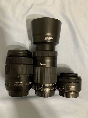 Canon Lenses (18-135mm, 55-250mm, 50mm) for Sale in Essex, MD