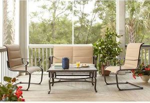 TRADITIONAL HOME OUTDOOR FURNITURE STEEL PADDED SLING 4PIECE PATIO SEATING SET for Sale in Houston, TX
