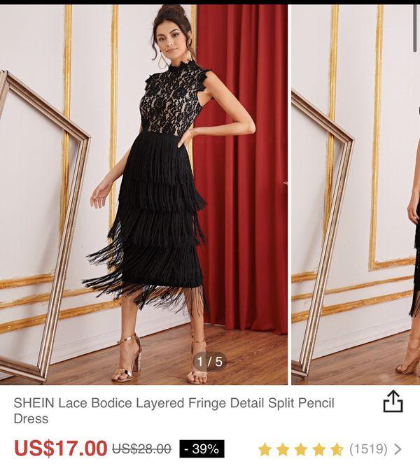 SHEIN lace bodice layered fringe detail split pencil dress