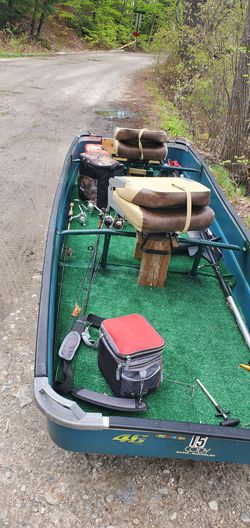 Jon boat, trolling motor, and battery for Sale in Nashua,  NH