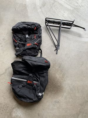REduced EI saddle bags with rear gear rack bike bicycle panniers for Sale in Bothell, WA