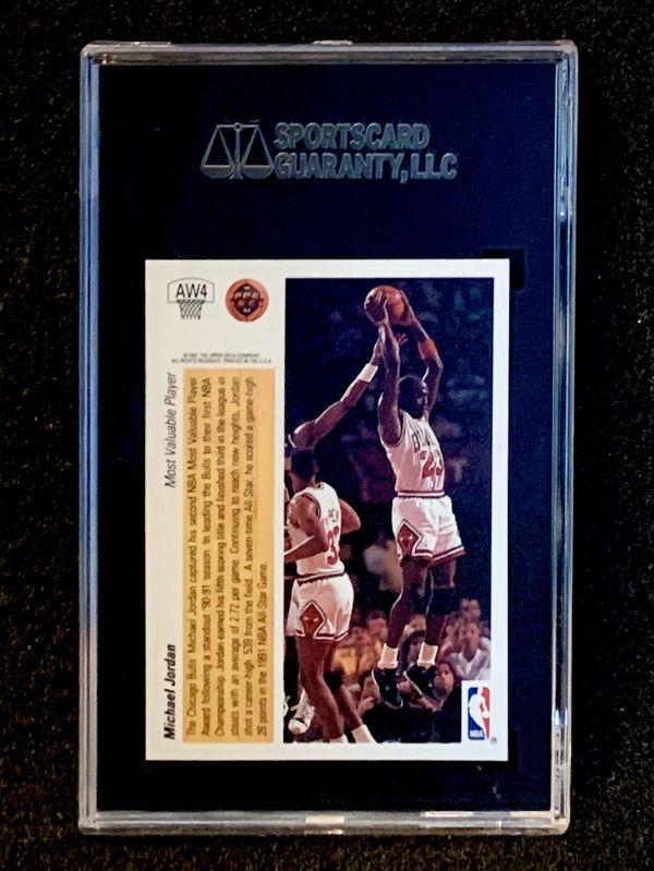 1991-92 Upper Deck AW4 Michael Jordan Hologram SGC 10 Pop 1