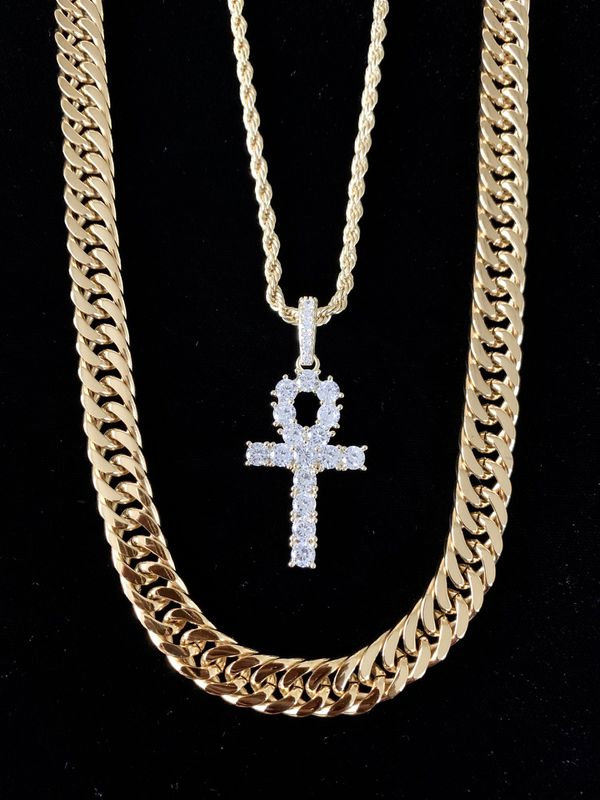 ⭐️ HAPPY VALENTINES DAY PERFECT GIFT!! ⭐️ ANKH FULL DIAMONDS CZ 18K GOLD CHAIN MADE IN ITALY.