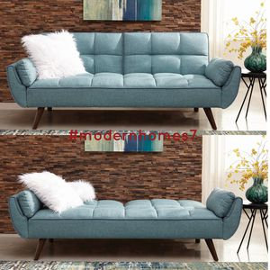 Beautiful turquoise blue woven fabric sofa futon bed with tufted backs for Sale in Rancho Cucamonga, CA