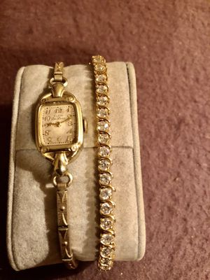 Vintage 10kt Gold filled Gruen Deluxe Watch/Plus Sterling Silver Tennis Braclet for Sale in St. Louis, MO