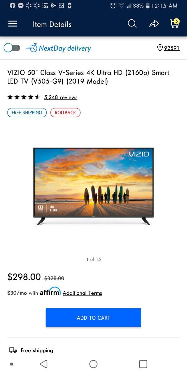 """Vizio 50"""" SMART TV 4k UHD MODEL#V505-G9"""