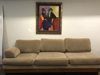 Free couches , tan one folds out to dbl bed for Sale in Portland,  OR