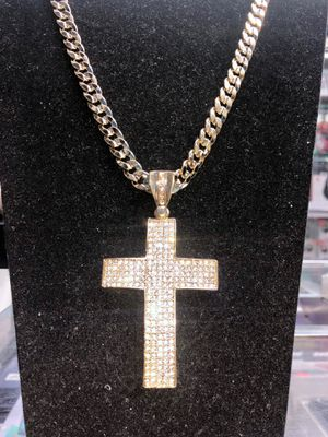 14K Gold Bonded ICY Lab Diamond Custom Cross Charm Pendant & 8mm Cuban Link Chain Combo Set ✅💎 PREMIUM QUALITY!!! 💎✅ for Sale in New York, NY