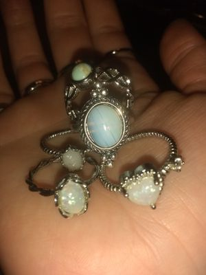 925 StamPed 4 OpaL RiNgS & 1 MooNstOne AntiQue RiNg BuNdLe for Sale in Bountiful, UT