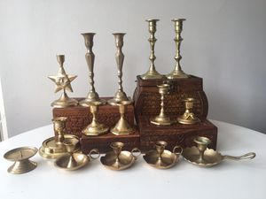 Authentic solid brass candlesticks and candle holders from india for Sale in Oakton, VA