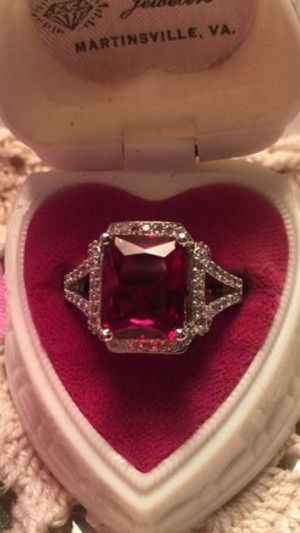 Large 4.5 mm Red Ruby lab Princess cut set on open two bands with channel set Sapphires New size 8. On925 sterling silver for Sale in Brecksville, OH