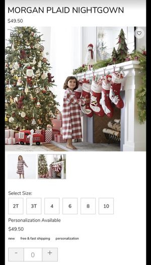 Potterybarn Flannel Christmas Nightgown 2T for Sale in Sunrise, FL