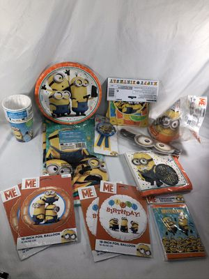 Minions Despicable Me Birthday Party Decor - Plates, Cups, TableCover, Hats, Balloons, Favors for Sale in Decatur, GA