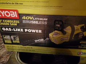 """RYOBI 40V BRUSHLESS CORDLESS 14"""" CHAINSAW for Sale in Beaumont, CA"""