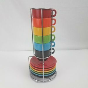 Stacking Espresso 4oz Mugs & Saucers w/ Chrome Rack for Sale in Alexandria, VA