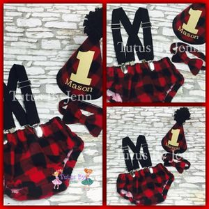 Buffalo Plaid Camper Bloomer Cake Smash Outfit Set for Sale in Schertz, TX