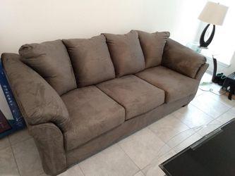 Microfiber Sofa Sleeper , 2 Glass Tables , Designer Lamp , & Queen Memory Foam Bed for Sale in Houston,  TX