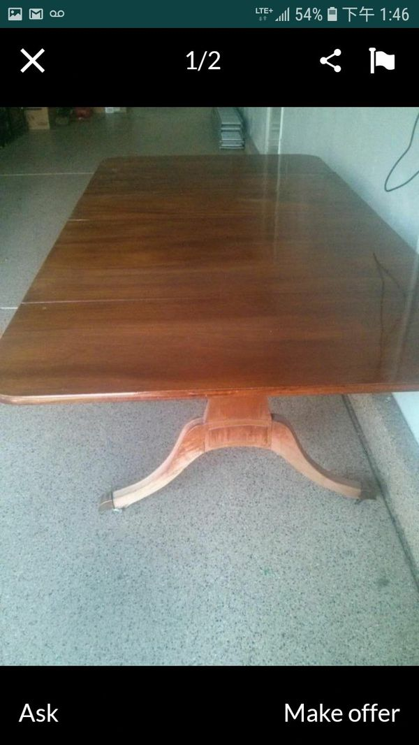 Antique solid oak dining room table