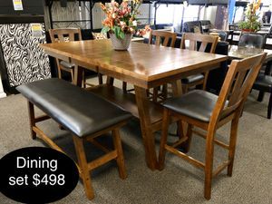 Brand new solid dining table set with bench for Sale in Fresno, CA