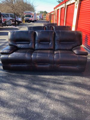 Real genuine Italian leather recliner sofa loveseat with cup holder and chair brown for Sale in Gaithersburg, MD