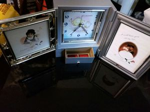 New Alarm clock/ jewelry box/with mirror and double sided swinging picture frames for Sale in Moreno Valley, CA