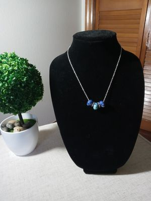 Blue, silver & fake diamond charm necklace for Sale in Palm Harbor, FL