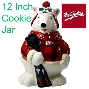 Mrs. Fields 12 inch Cookie Christmas Jar Polar Bear with Skis for Sale in Willowbrook, IL