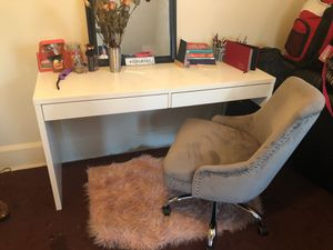 White desk and grey suede chair for Sale in Washington, DC