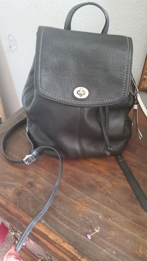 Coach Black Pebbled Leather Backpack Medium Purse for Sale in Uhland, TX