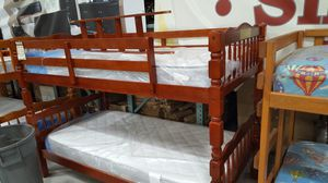 Brand New Twin Size Cherry Wood Bunk Bed + 2 Mattresses. for Sale in Kensington, MD