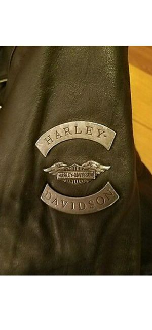Heavy duty Harley davidson embroidered eagle leather jacket large and medium chaps. 1 owner. for Sale in Phoenix, AZ