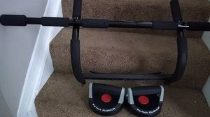 Exercise equipment. Bar for door Also push up weights. for Sale in Columbus, OH