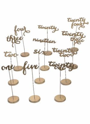 Gold wood table numbers 1-24 wedding party decor for Sale in Falls Church, VA