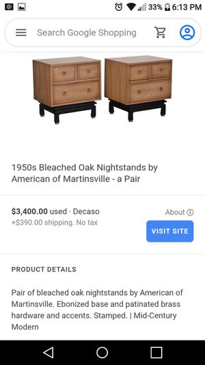 1950s Bleached Oak one Nightstand by American of Martinsville Ebonized base and painted brass hardware and accents. Stamped.   Mid-Century Modern for Sale in Diamond Bar, CA