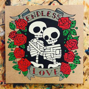 Endless Love - Eternal Love - Skeleton Love - Wall Sign - Carved MDF wood - Hand Painted for Sale in Whittier, CA