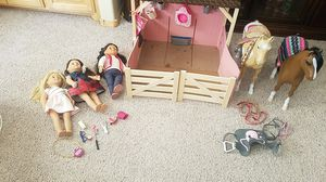 Our generation horse barn horses and 3 dolls with accessories for Sale in Rio Rancho, NM