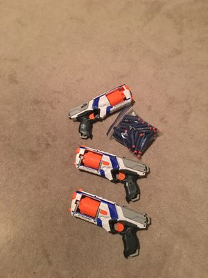 3 Nerf gun strong arm elite with bullets for Sale in Las Vegas, NV