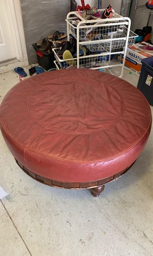 Ottoman red leather solid wood - free for Sale in Land O' Lakes, FL