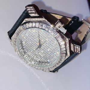 New Mens Quartz Watch Sale Leather Band Set With Lab Diamonds $50 for Sale in Las Vegas, NV