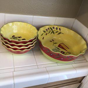 Presentable ovenware bowls set of 5 for Sale in El Cajon, CA